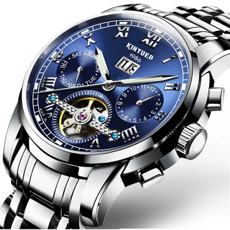 Luxury Swiss Brand Watches KINYUED Men Automatic Mechanical Watch Steel Bracelet Skeleton Flying Design J014<br>