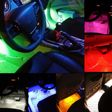 7 colors12 V 0.5 A 6 W 2x9 LED Car Vehicle Accessory Foot Atmosphere Light Lamp For Decoration 12V(China)