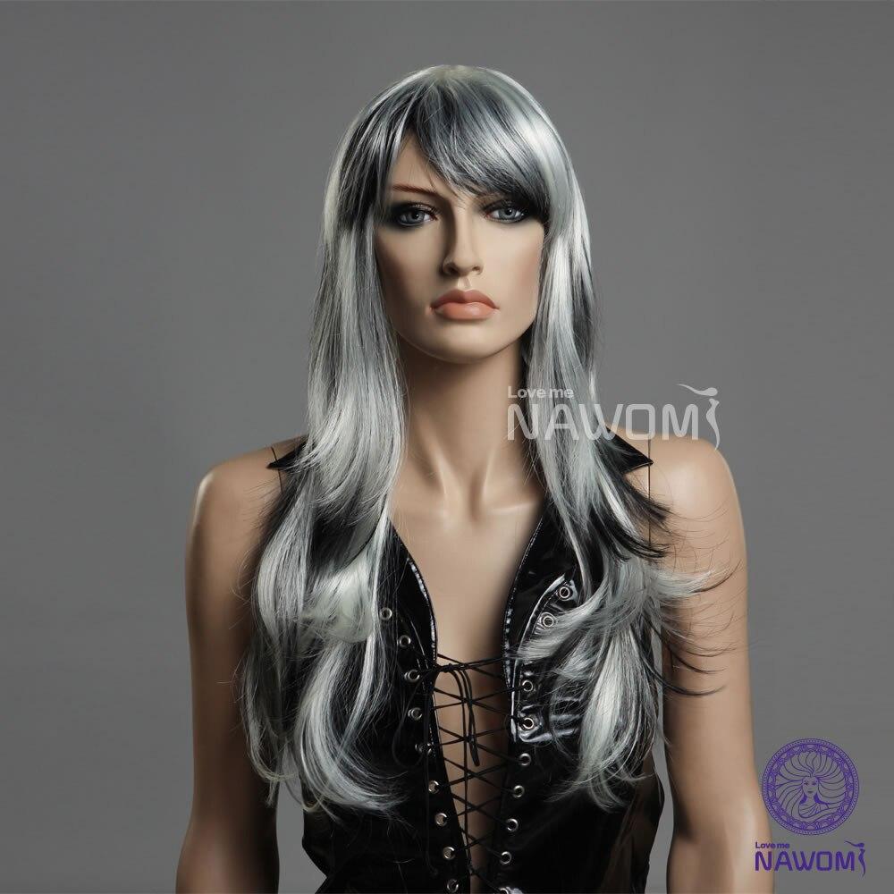 Wholesale Kanekalon hair Wig Long Gray&amp;White,Nawomi Brand Synthetic Hair wigs Free Shipping<br><br>Aliexpress