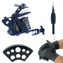 Completed Tattoo Machine Kit Set One 8 Coils Tattoo Machine Gun for Liner Tattoo Beginner Grips Kit Permanent Makeup