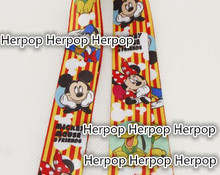 New 10Pcs Popular Cartoon mickey minnie cute Neck Straps Lanyards Mobile Phone,ID Card,Key Condole belt kids gifts