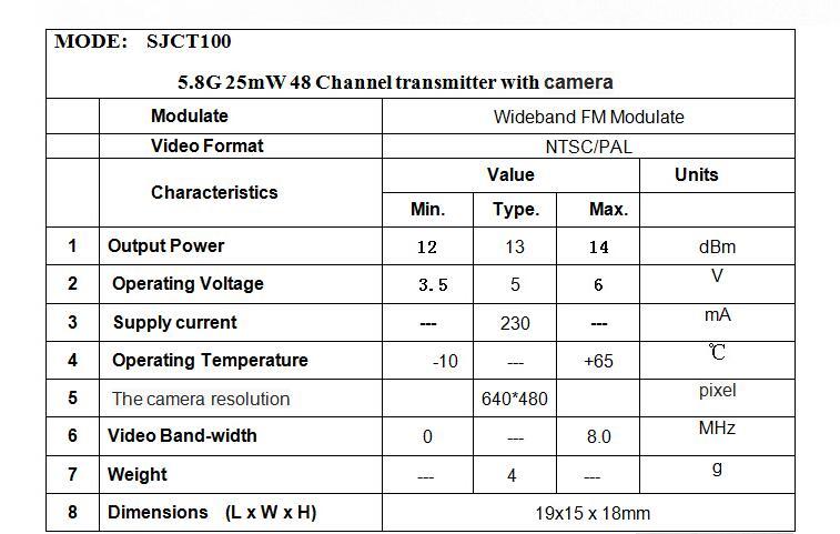 SKYZONE SJCT100 5.8G 25mW 48CH transmitter with NTSC/PAL camera wideband FM modulate parts