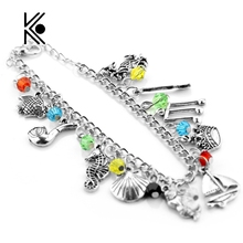 Moana hogwarts Beauty and the beast Fifty Shades Mermaid Fish Musical Note Oar Crystal Beads Alloy Pendant Bracelets For Women