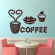 Coffee Desserts Vinyl Wall Sticker For Kitchen Room Cooking House Coffee shop wall poster decal dining room decor S-214(China)