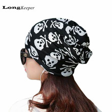 LongKeeper Women Men Knitted Hats Scarf & Winter Hats for Women Men Skull Pattern Beanies Skullies Women Cap 2017 Hot