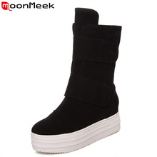 MoonMeek Large size 34-43 high quality simple women boots hook loop Mid-calf boots pu nubuck leather height increasing boots(China)