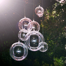 20 pcs Clear Acrylic Craft Balls 2 Part Sphere Baubles Christmas Candy Ball Wedding Party Hanging Decors(China)