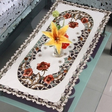 "Hot Selling 16*36"" Elegant Design Polyester Embroidery Table Runner Satin Embroidered Floral Cutwork Cloth Towel Covers 40*85cm"