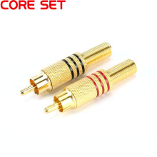 10PCS/Lot  RCA Connector Male jack Plug AV Plugs for PC Audio Vedio Welding DIY Parts Gold Red Black Metal Spring