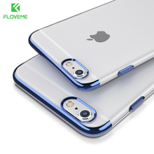 FLOVEME Case For iPhone 6 6S 7 Case Fashion Ultra Slim Clear Cover Case For iPhone 6 6S 7 Plus Plated Soft TPU Cases