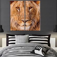 4 pcs Animal Lions Head wall Pictures Printed on Canvas Modular Cuadros Pictures for Living Room bedroom decorative pictures(China)