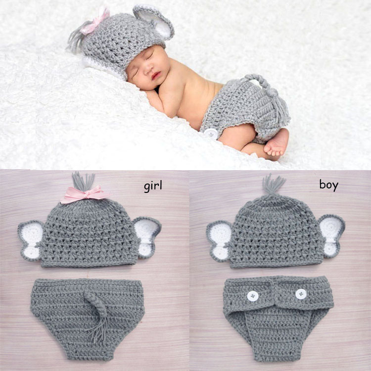 Crochet Baby Elephant Costume Knitted Baby Hat and Diaper Pants Set Newborn Baby Animal Photography Props WLS-15002<br><br>Aliexpress