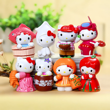 8pcs Chef Hello Kitty Mini Fairy Garden Decor Miniatures Jardin Terrarium Figurines Bonsai Succulent Gnomes DIY Home Accessories