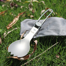 Keith Titanium Spork Camping Cutlery Spoon Fork Titanium Tableware Foldable Portable Lightweight 17.5g KT301