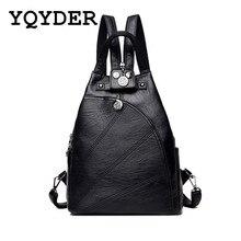 Women Multifunction Backpacks Black Soft Leather School Bags Female Zipper Shoulder Travel Bag Mochila Girls-Teenagers Back Pack