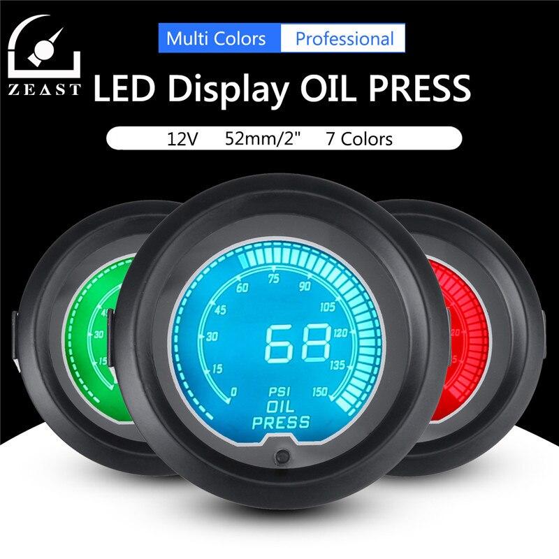 Oil Pressure Gauge Car Auto 12V 2/52mm Universal 7 Colors LED Display PSI Instrument Digital Manometer Measuring Instruments<br>