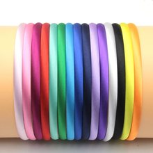30pcs/lot 15colors 10mm Colored Satin Covered Resin Hairbands,For Children Solid Satin Hair Band DIY Headband,Satin Head Hoop
