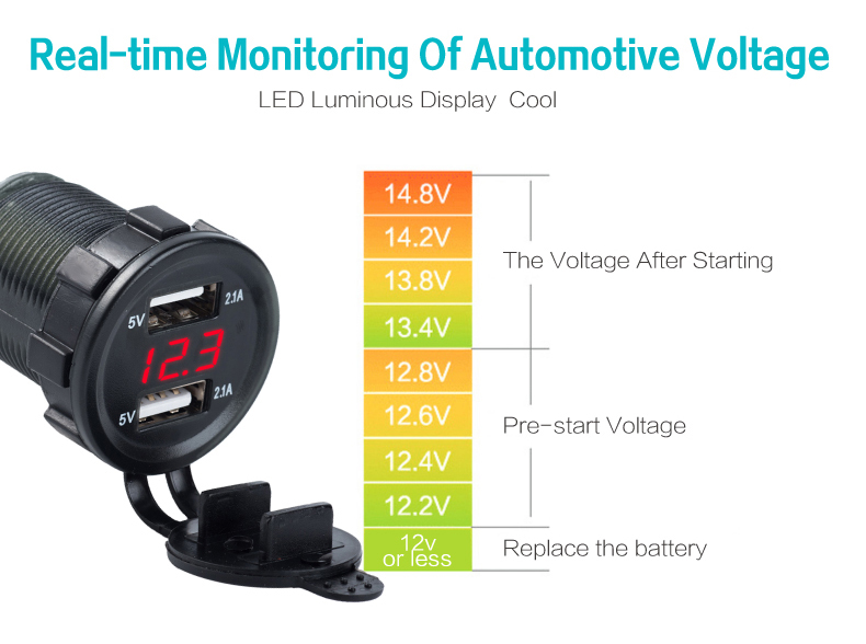 usb car charger with voltage 05