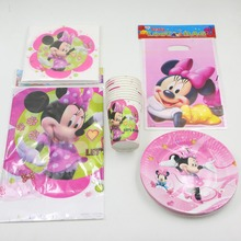 8person minnie mouse theme party supplies 47pcs party set decoration tableware set paper dishs gift  bag cups tablecloth ect