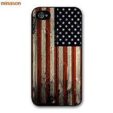 minason Hotsale USA America Flag Cover case for iphone 4 4s 5 5s 5c 6 6s 7 8 plus samsung galaxy S5 S6 Note 2 3 4 S5100(China)
