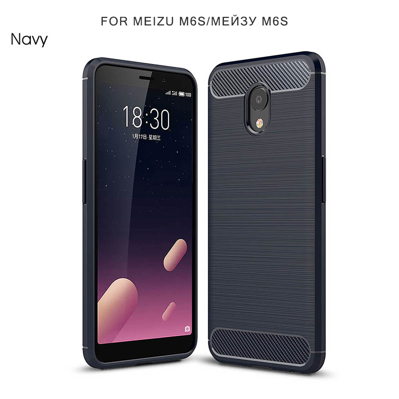 carbon fiber brushed silicone case meizu m6s (14)