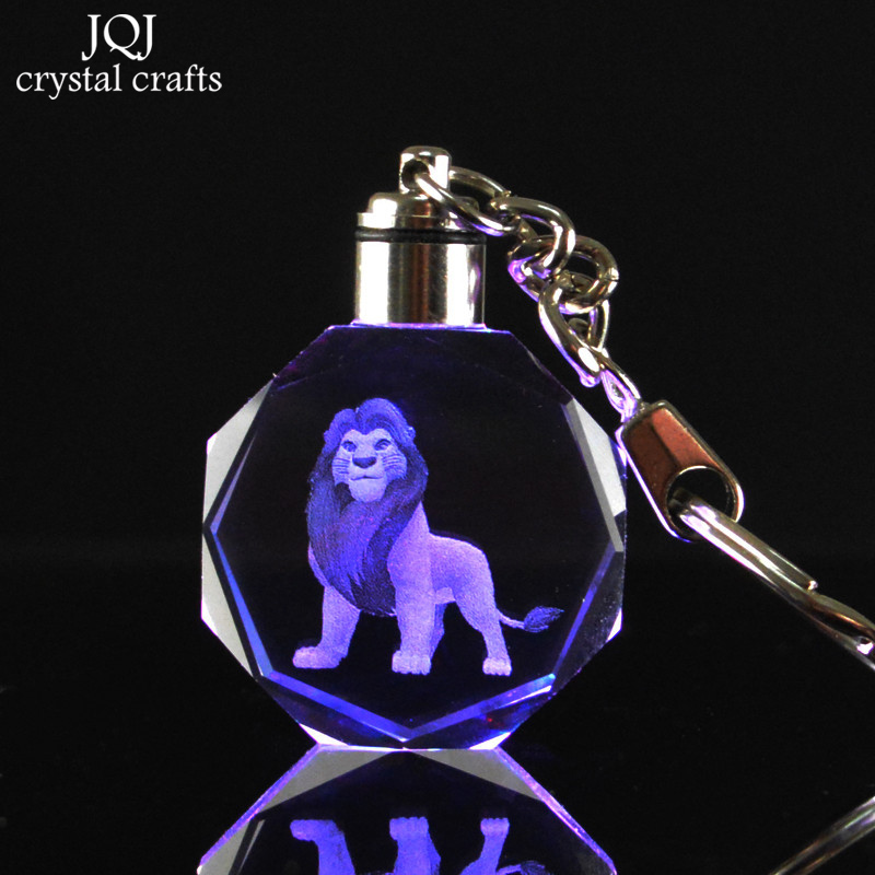 1-Piece-Laser-Engraved-Cartoon-The-Lion-King-Crystal-Miniature-Keychain-With-Changing-Colors-Light-For