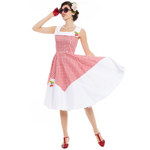Women Summer Retro Dress Cute Red Plaid Sailor Collar Cherry Sleeveless Mid-Calf Dress A-Line Crew Neck Vintage Party Dress(China)