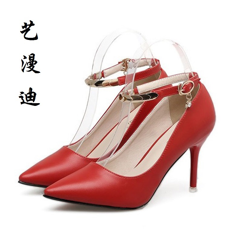 2017 Small Size 31-43 Sexy Buckle Pointed Toe High Heels Women Pumps Ladies Office Shoes Woman Chaussure Femme Talon 32 33 34<br>