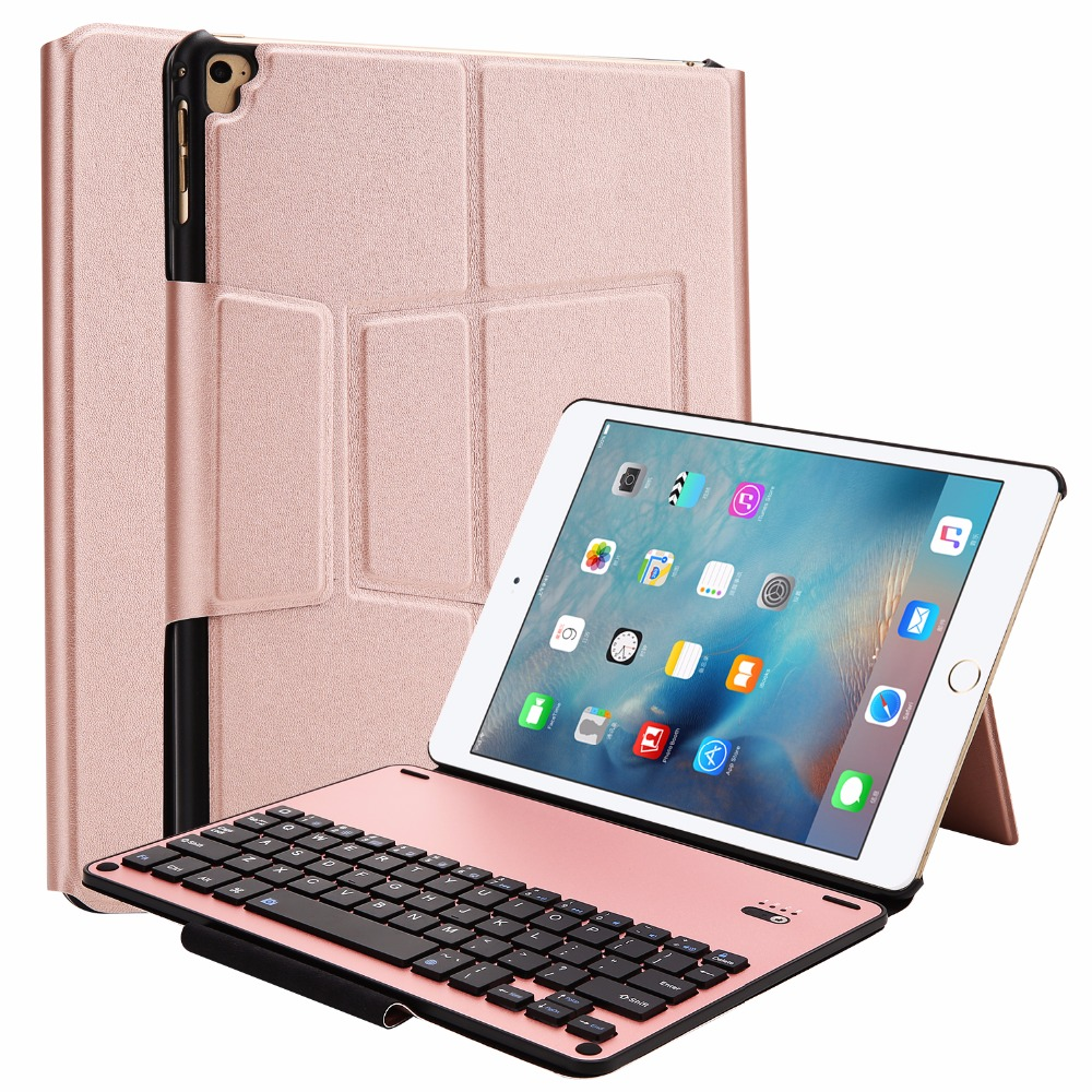 Kemile Smart Aluminum Alloy Bluetooth Keyboard For iPad 9.7 inch 2017 Keypad Case for New iPad 9.7 inch 2017 Cover With Stand<br>