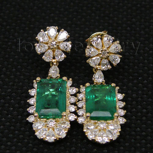 Loverjewelry 14k Yellow Gold Natural Gemstone Emerald Earrings Real Diamond 585 Drop Women Party