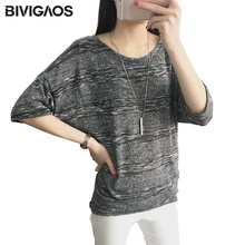 BIVIGAOS Spring Summer Loose Clothing Bat Sleeve T-shirt Women's O-Neck T Shirt Striped Casual Knitwear Tops For Women Blusas