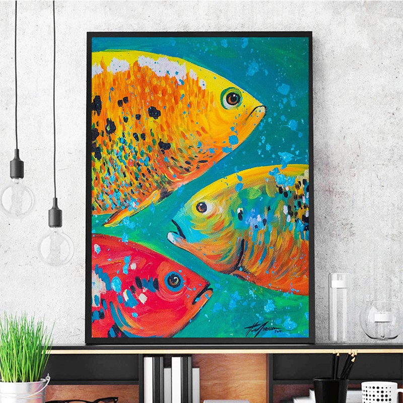 Wild Fishing Oil Painting HD Print on Canvas Home Deco Wall Art Picture Unframed