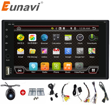 Eunavi Quad Core 2 Din Pure Android 6.0 Car Radio GPS Navigation Stereo video WiFi Bluetooth 3G Touch Screen Back Camera Car PC(China)