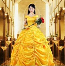 free PP 2017 New movie Beauty and the Beast Movie Princess Belle Emma Watson cosplay costume yellow dress adults Custom made