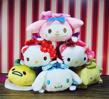 2015 Hotsale TSUM TSUM Mini Sanrio Marine Hello Kitty Melody Plush Toys Keychains Bags Decoration Bebe Girls Gifts