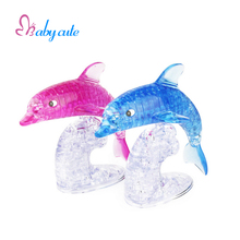 Kids Puzzle Dolphin Shape 3D Crystal Puzzles 95 Piece Puzzle Plastic Bricks Kids Educational Puzzle Toy Practical Gift For Baby