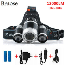 12000 Lumen Headlight LED CREE XML 3*T6 Zoom Headlamp X900 Flashlight Torch Head Lights Lamp +2*18650 Battery+AC/Car/USB Charger