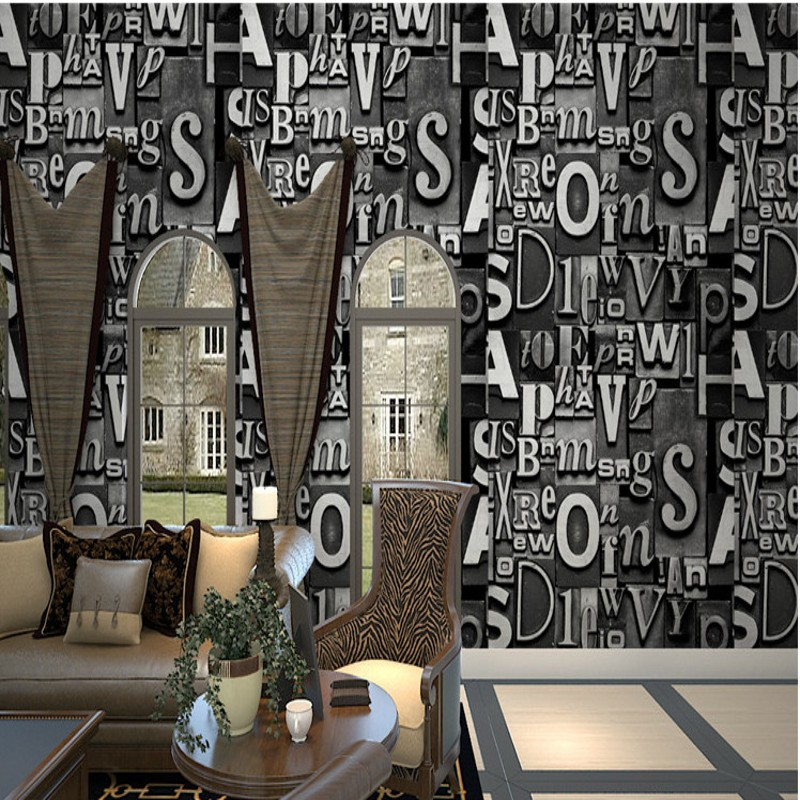 Free Shipping European style retro English letter wallpaper 3D personality KTV restaurant bar coffee shop fashion wallpaper<br>