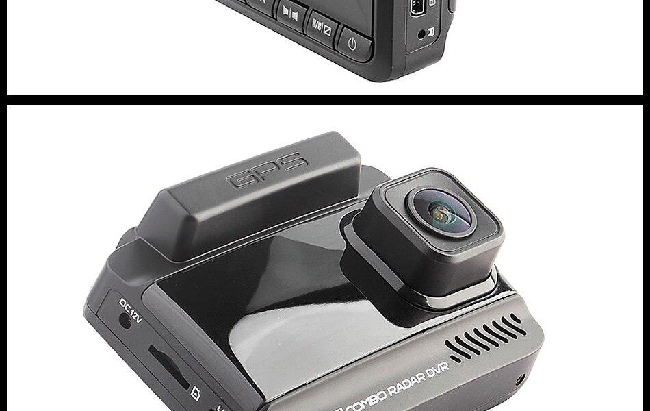 Ruccess 3 in 1 Car Radar Detector DVR Built-in GPS Speed Anti Radar Dual Lens Full HD 1296P 170 Degree Video Recorder 1080P 25