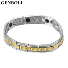 GENBOLI Stainless Steel Bracelet For Male Health Energy Bio Magnetic Titanium Germanium Bracelets Pulseira Masculina(China)