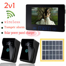 Solar charger outdoor camera Home Security 7 inch color TFT LCD Monitor Video Door phone Intercom System2v1