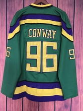 EJ Mighty Ducks Movie Jersey #96 Charlie Conway Hockey Jersey Stitched All Sewn GREEN