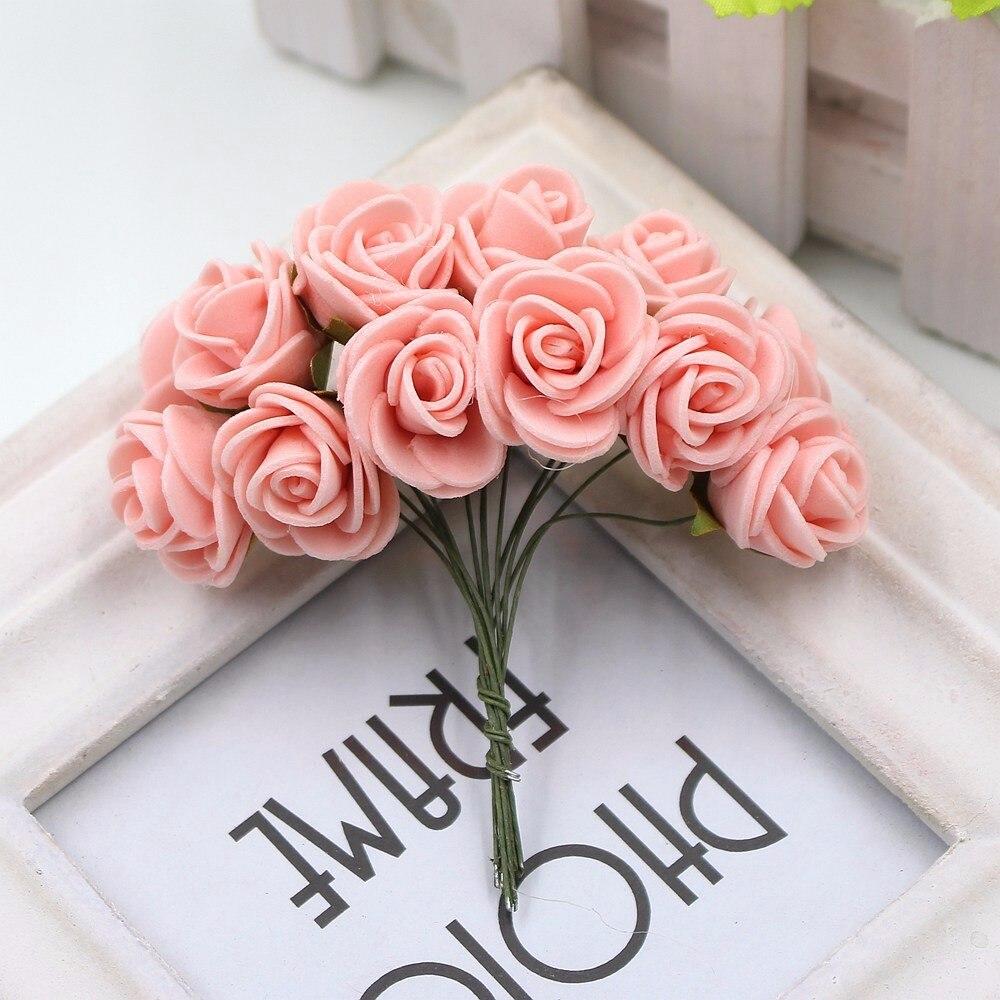12pcs/lot New Hot 2cm Head Multicolor PE Foam Mini Flower Artificial Rose Flowers Bouquet wedding decorative flowers wreaths 14