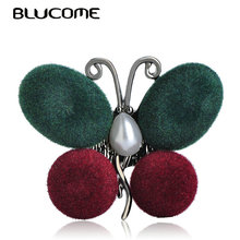 Blucome Vintage Style Green Butterfly Brooches Plush Pearl Copper Jewelry Insects Brooch Women Girls Shirt Sweater Accessories(China)