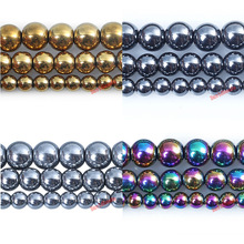 Factory Price Natural Stone Silver Gold black rainbow Plated Hematite Shamballa Beads 4 6 8 10 MMPick Size For Jewelry Making