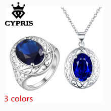 2017 CYPRIS 3 colors Jewelry sets Fashion silver set Necklace Ring size 8 18inch usa 1mm rolo rhinestone sale Women(China)
