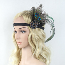 Vintage Sparkling Black Beaded Double Peacock Feathers Embellish Feather Headband 1920s Gatsby Flapper Girl Hair Band(China)