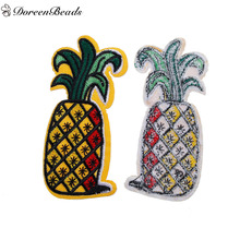 DoreenBeads 3PCs Polyester Patches Appliques DIY Scrapbooking Craft Pineapple Ananas Fruit Yellow Apparal Sewing