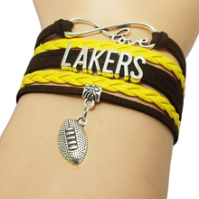 Infinity Love Lakers Baseball Team Bracelets Leather Suede Rope Charm Customize Friendship Wristband Women Bangle