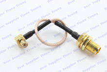 5 pcs\lot 25 cm RG178 Straight RP SMA Female (Male Pin) to Right Angle MCX Male Connector Pigtail Extension Cable